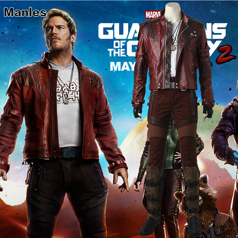 Guardians of The Galaxy 2 Cosplay Star-Lord Peter Jason Quill Costume Superhero Outfit Halloween Adult Men Jacket Boots Tailored