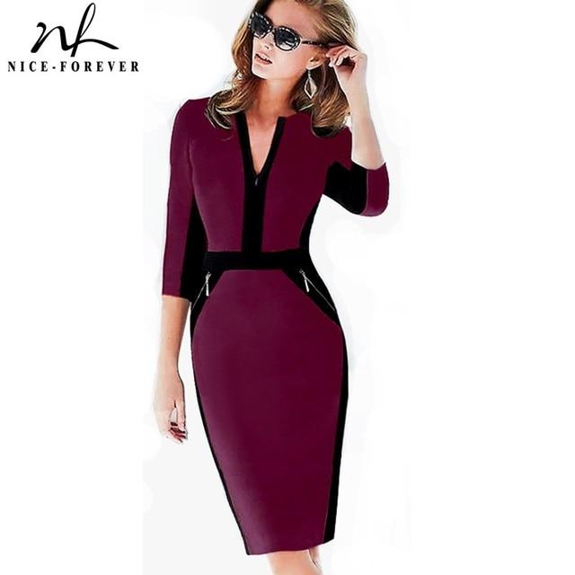 Хорошее-навсегда офисное женское платье на молнии плюс размер модное лоскутное платье с v-образным вырезом vestidos Одежда для работы Формальное облегающее платье в деловом стиле 837