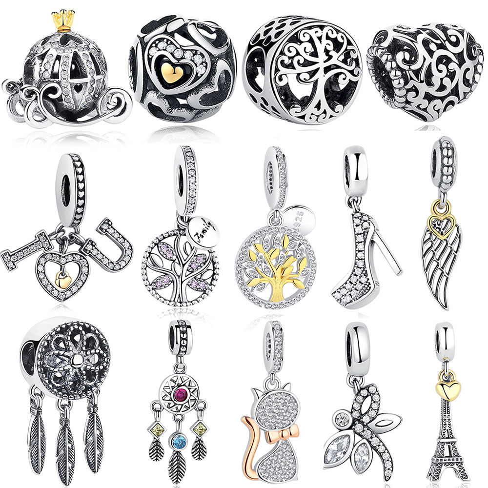 DIY Silver Charm Fit Beads byzylyk Pandora Original 925 Sterling Silver Silver Dangle Charm Heart Crystal, Lule, Kullë, Tree Bead