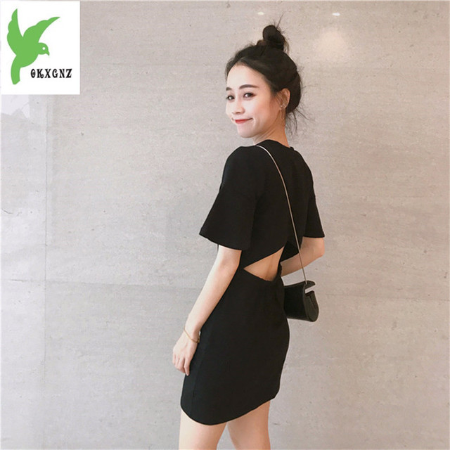 2018 Retro Student Dress Summer Dress New Popular Women s Korean Black Dress  Sexy Cute Trendy Fashion Specials Affordable Dress b75a0d1c2