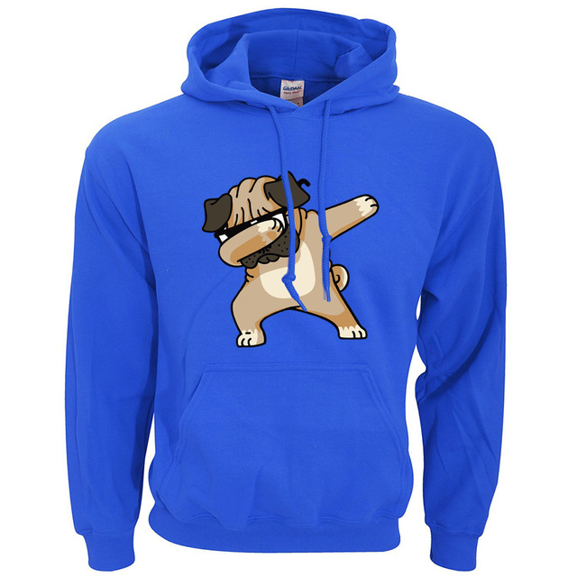 Animal Dabbing Pug Graphic Print Men's Hoodies  1