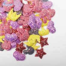 Xugar Glitter Fabric Patches Star Heart Sequin Appliques Padded Patches for Clothes Stickers DIY Hair Clips Ornament 10pcs/lot 60pcs 15 20mm glitter fabric bepowder heart applique cloth padded patches for clothes headwear hairpin wedding diy decor g92