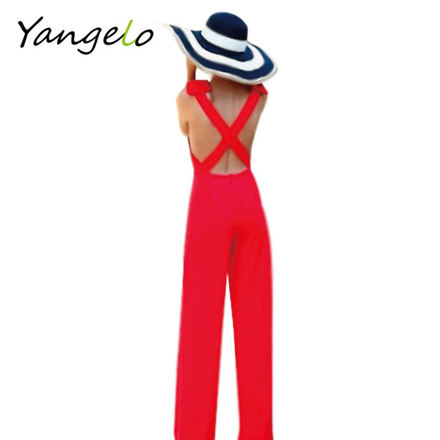 2016 New Fashion women Summer Style Sexy Blackless elegant jumpsuit for women red bow Sleeveless Long Jumpsuits free shipping