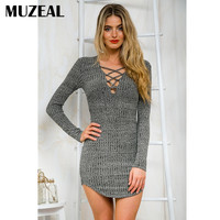 MUZEAL Sexy Winter Long Sleeve Knitted Grey Dress Autumn Deep V Neck Curved Woman Party Night