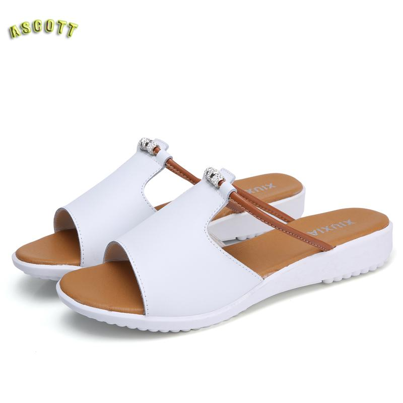 The Slope With Leather Sandals And Slippers In Summer 2017 Fashion All match font b Women