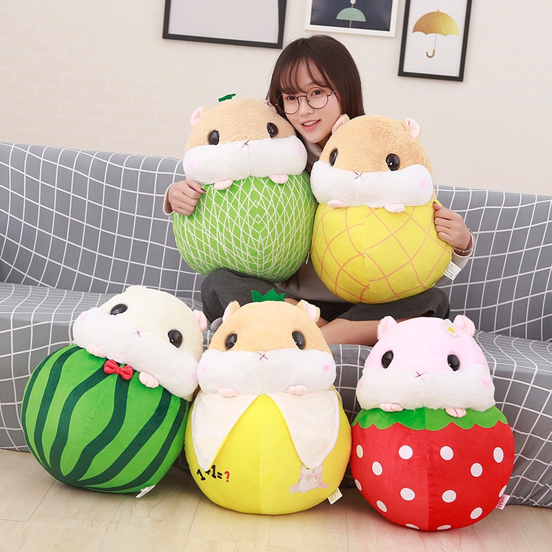 1pcs 30cm Kawaii  Hamster Plush Toys Stuffed Cartoon Animal Doll Hamster Turn to Fruits Doll Creative New Year's Gift For Kids fancytrader new style giant plush stuffed kids toys lovely rubber duck 39 100cm yellow rubber duck free shipping ft90122