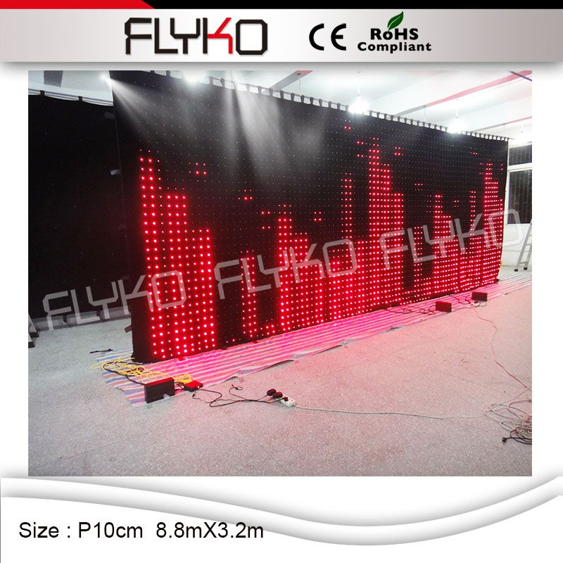 P10cm 8.8x3.2m High Quality Concert Stage Background Video Ledwall, Indoor Full Color Flexible LED Curtain Video Wall Screen