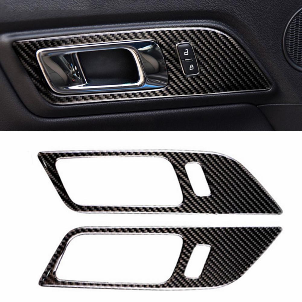 פורד 1 מסגרת ידית דלת המכונית סיב פחמן זוג Trim מדבקה עבור פורד מוסטנג 15-17 (1)
