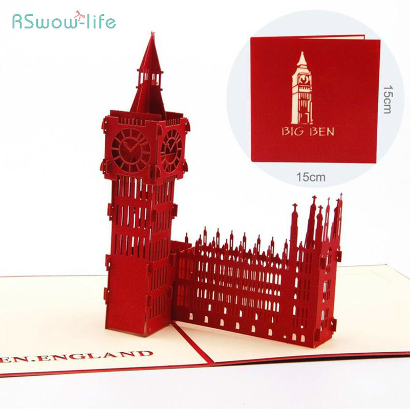 Creative 3D Stereo Greeting Cards Handmade Greeting Cards Greeting Cards City Construction Big Ben Greetings Cards