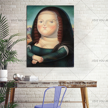 Llovely Funny Obesity Mona Lisa Canvas Painting 100% Handmade Oil Painting On Canvas Living Room Art Wall Home Decor Pictures