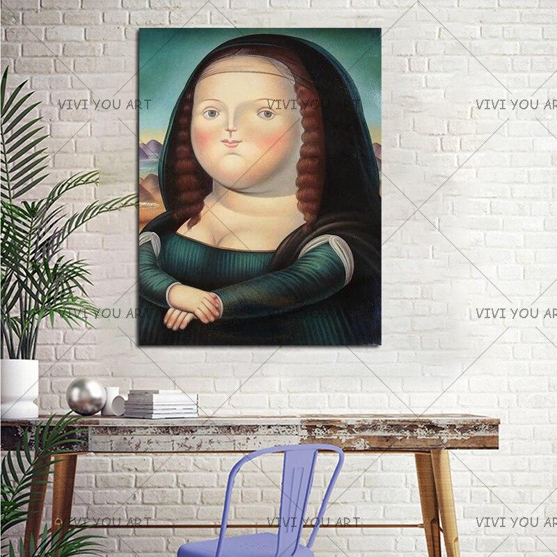 Llovely drôle obésité Mona Lisa toile peinture 100% à la main peinture à l'huile sur toile salon Art mur décor à la maison photos