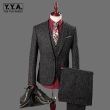 874fcd35d Nuevo traje de 3 piezas para hombre entallado pieza de tweed Casual vestido  de boda Blazer hombre un botón traje gris ropa de ho.