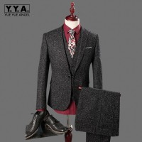 New 3 Piece Men Suit Slim Fit tweed piece Casual Wedding Dress Blazer Male One Button Gray Suit Men Clothing (Jacket+Pant+Vest)