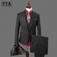 New 3 Piece Men Suit Slim Fit tweed piece Casual Wedding Dress Blazer Male One Button Gray Suit Men Clothing (Jacket+Pant+Vest)