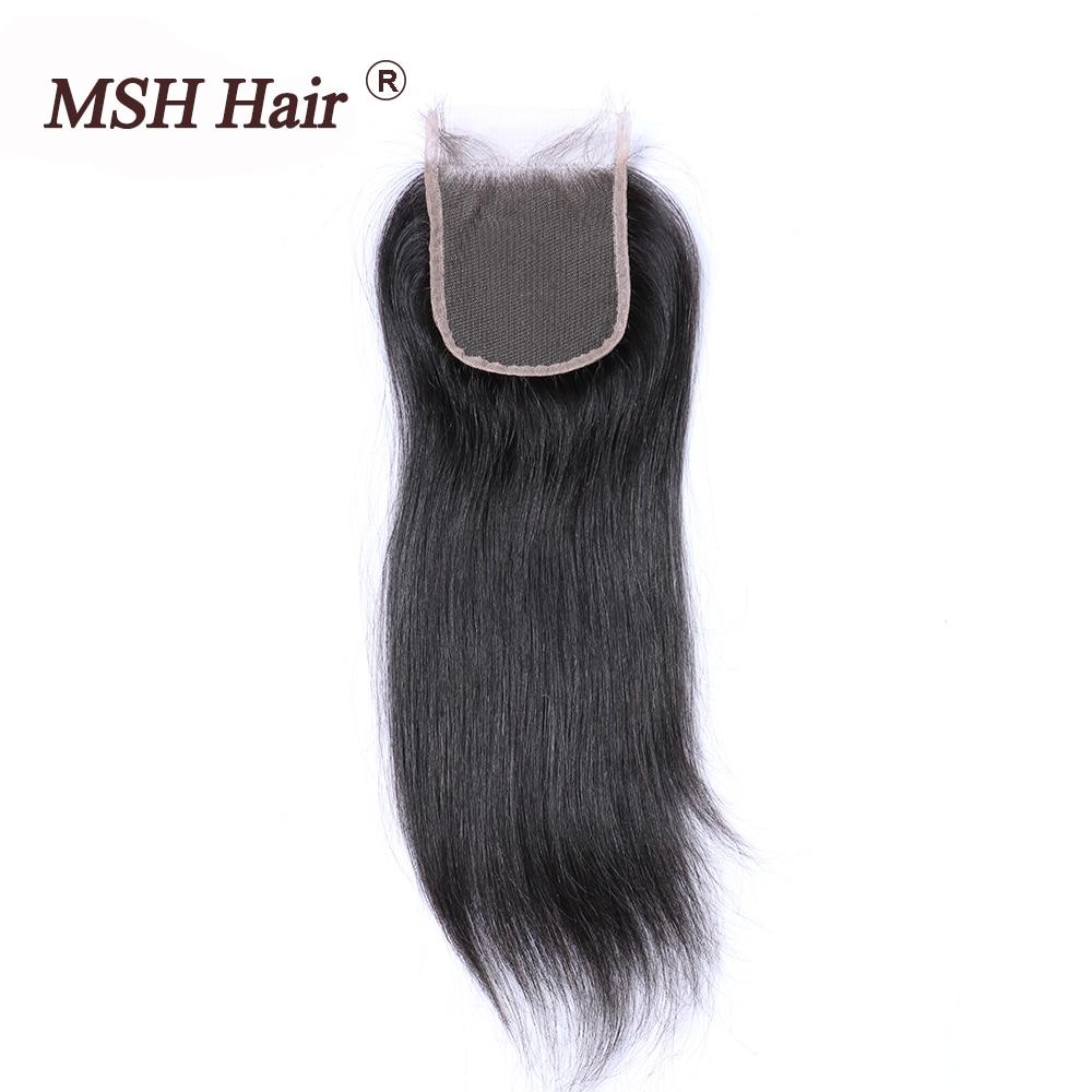 MSH Hair Brazilian Straight Hair Lace Closure Free Part Non Remy Human Hair 4x4 Inch Swiss Lace Hair Closure