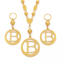 Big Size Letters Set Pendant Necklaces & Spring Ring Gold Color Micronesia Alphabet English Initial Letter A Z Jewelry
