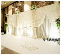 3m*9m Wholesale white Wedding Backdrop with Beatiful Swag Wedding drape and curtain wedding decoration