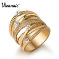 Viennois Brand New Wide Gold Plated Multilayer Hollow Rings for Women Trendy Stack Ring Jewelry Female Finger Ring