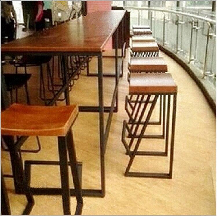 madera americana retro a la moda a hacer el viejo barra de hierro forjado taburetes y sillas casual caf taburete de barra alta silla de comedor en with