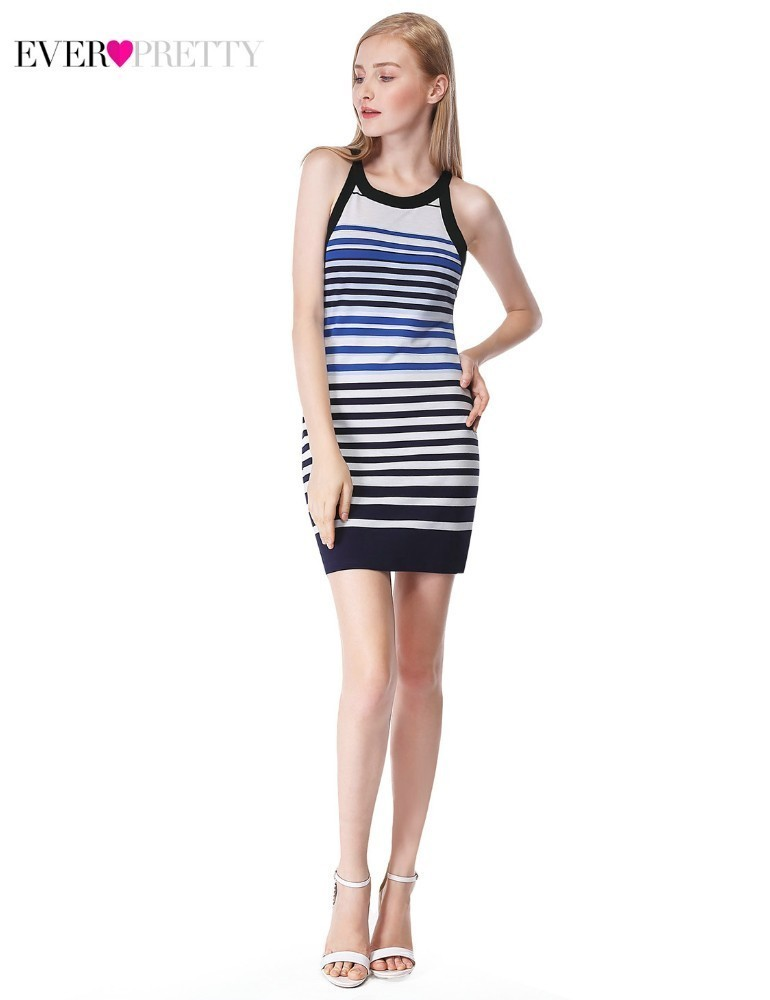 Mini Cocktail Dresses Ever Pretty AS05675SB Straight O-Neck Sleeveless Striped Women Casual Party Dresses Vestidos Coctel 2019