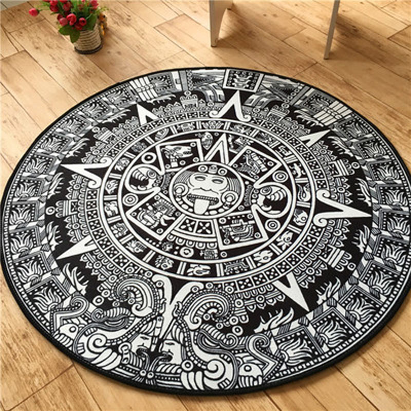 Us 39 88 5 Di Sconto Moda Totem Maya 100 Cm Tappeto Rotondo Soggiorno Cucina Antiscivolo Zerbini Tappeti Di Grandi Dimensioni Personalizza Vintage