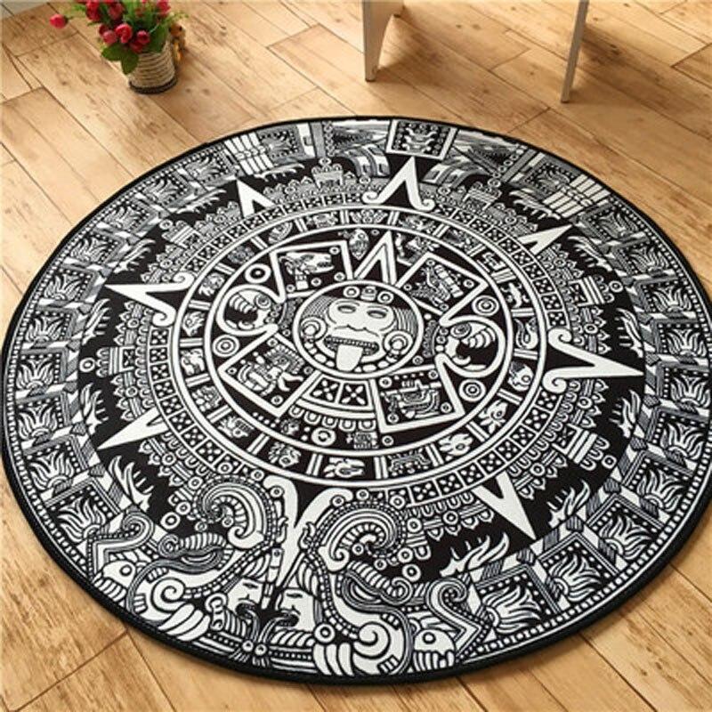 Mode maya Totem 100 cm tapis rond salon cuisine antidérapant moderne chambre tapis de sol grand personnaliser Vintage paillassons
