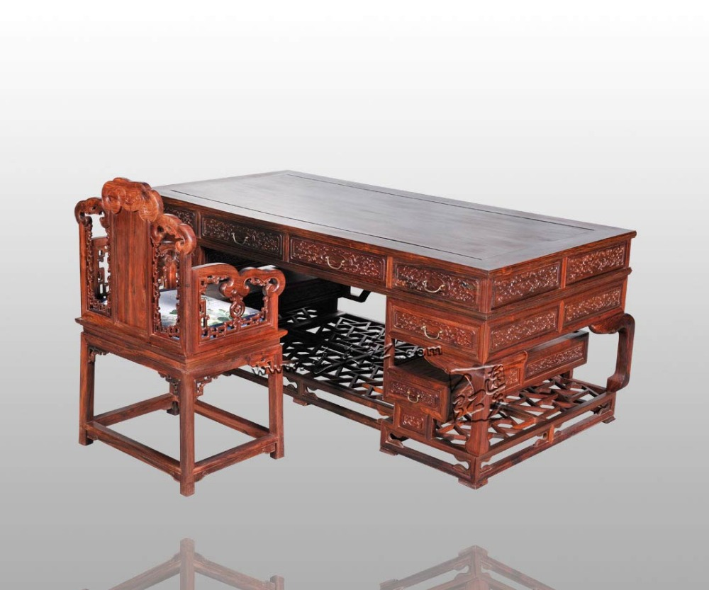 New Classical Rosewood Office Furniture Set Carven Desk Living Room Long console Table Redwood book case Solid Wood ArChairs set