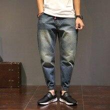 Байкер мужчины свободные джинсы брюки мода люксовый бренд джинсовой повседневная hip hop полная длина хлопок хомбре карандаш гарем брюки s-4xl