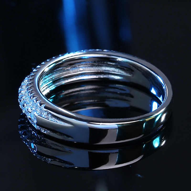 ขายร้อนเรขาคณิต Cz วงกลมแหวนผู้หญิงซ้อนกันได้แหวนหมั้น 925 เงินสเตอร์ลิงเครื่องประดับของขวัญ