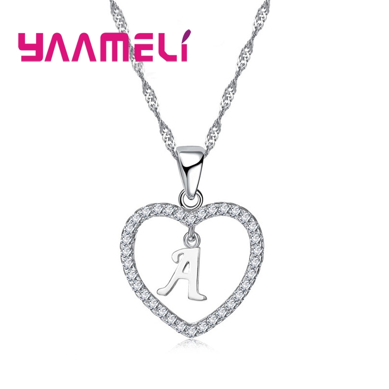 Romantic Heart Design 26 Letters Necklace Pendant Super Shiny Cubic Zirconia 925 Sterling Silver For Women Girls Gift