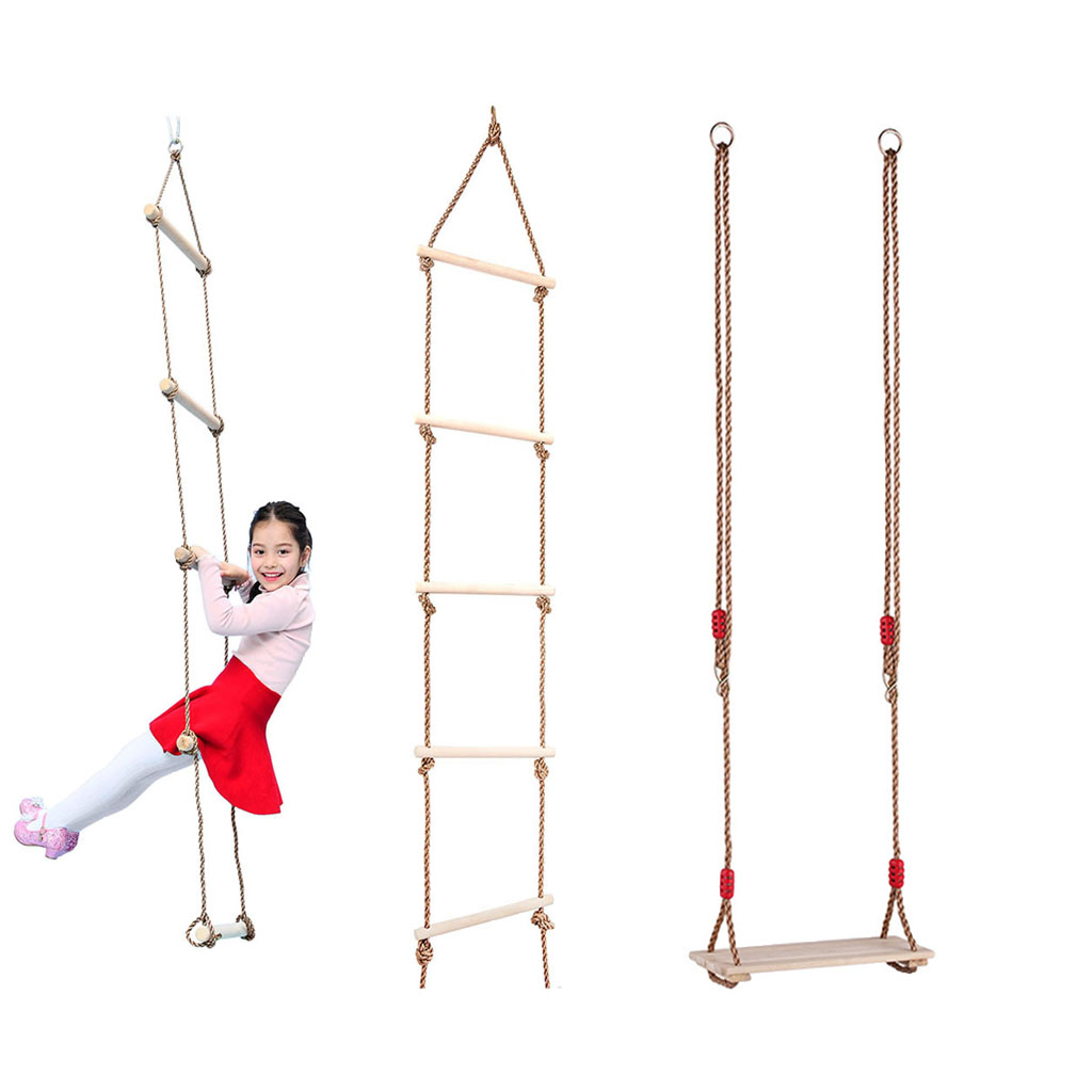 Kids Indoor Outdoor Wooden Flat Seat Chair 5 Rungs Rope Climbing Ladder Playhouse Garden Park Fitness Gym Activity Toy