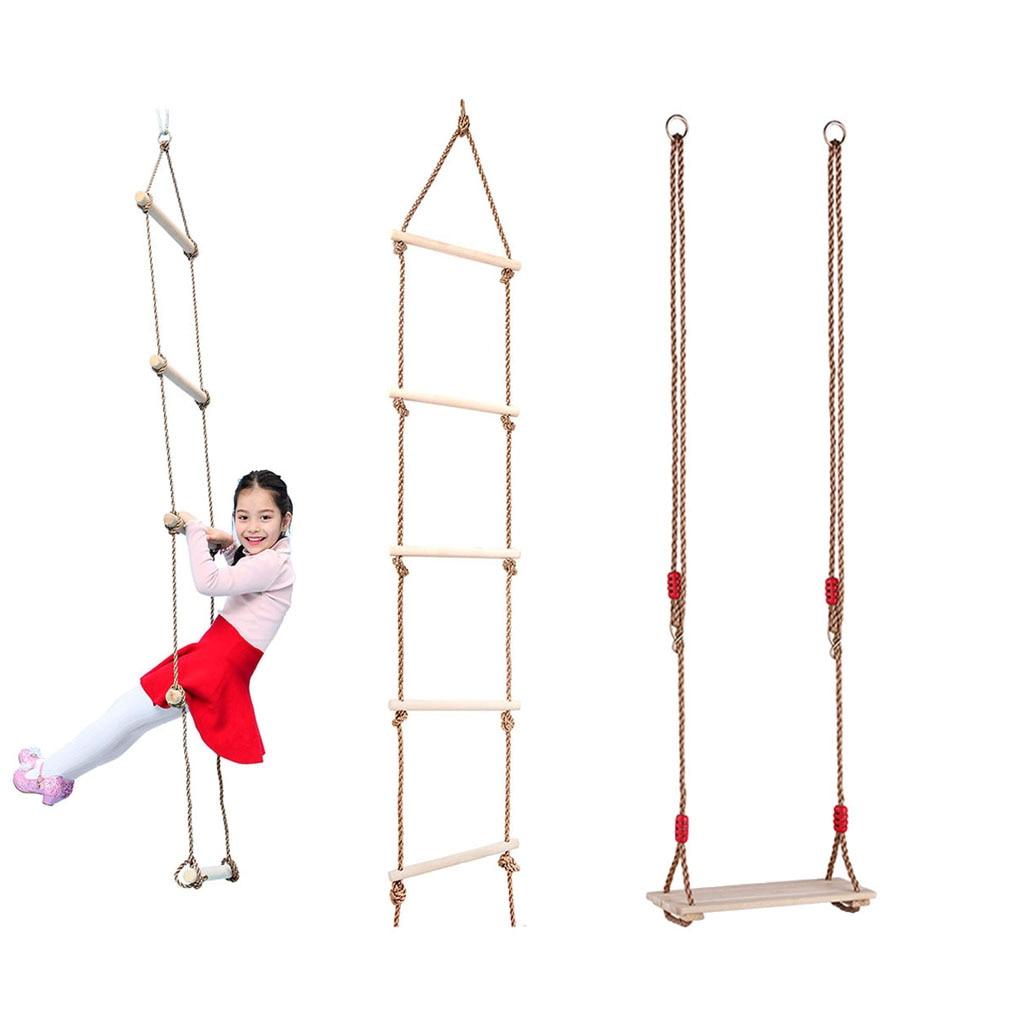 Kids Indoor Outdoor Wooden Flat Seat Chair 5 Rungs Rope Climbing Ladder Playhouse Garden Park Fitness Gym Activity Toy