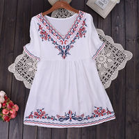 Free Shipping Women Ethnic Embroidered Loose Batwing Boho Hippie Peasant Mexican Cotton Blouse Tops Femininas Blusa