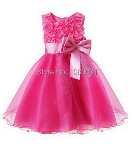 New Real Flower Girl Dresses with Bow Party Pageant Communion Dress Little Girls Kids/Children Dress for Wedding Birthday