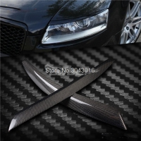 High Quality Real Carbon Fiber decoration Headlights Eyebrows Eyelids cover for Audi A6 C6 4F 2004 to 2011