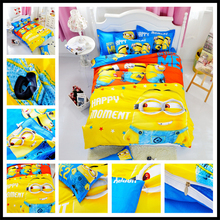 Hot!Cotton Bedding Set Cartoon Printing Minions Mitch Bedclothes for Baby Children Kid Bed Linen Twin Full Queen Duvet Cover Set