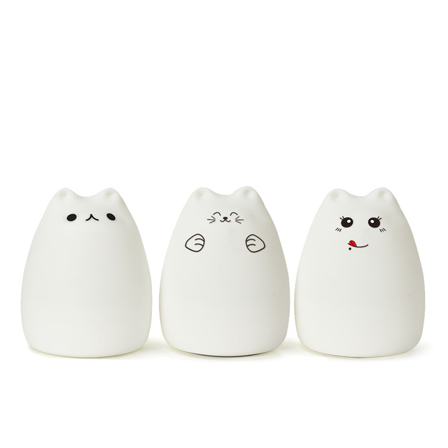 Colorful Cat Silicone Touch Sensor LED Night Light  Lamp