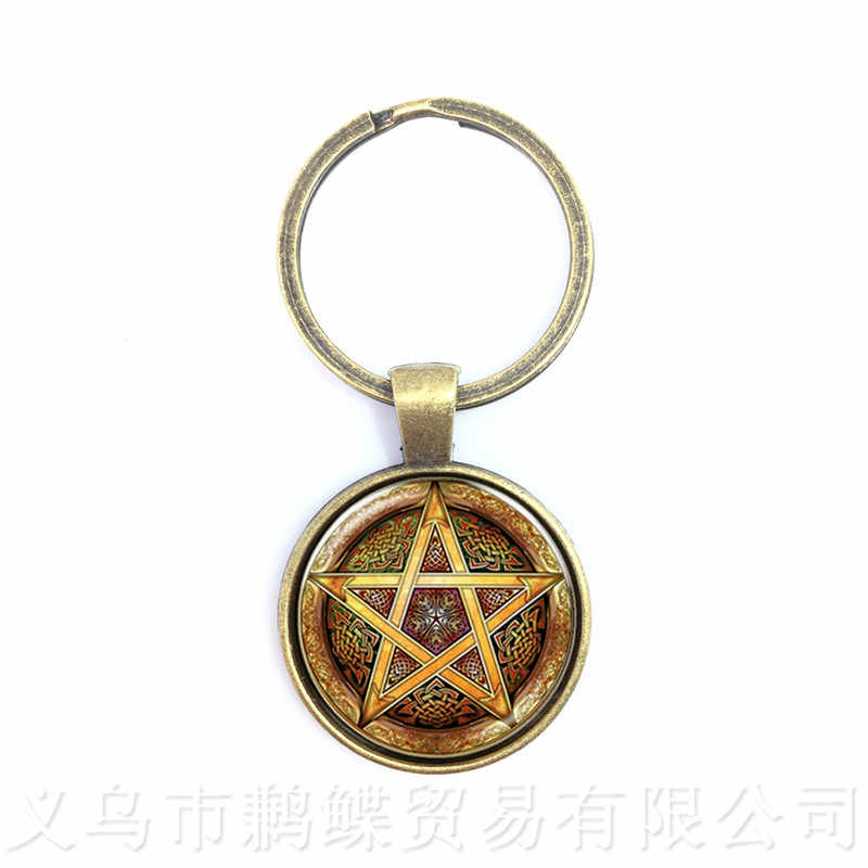 Satanic Baphomet Pentagram Keychains Gothic Pendant Satanism Evil Occult Pentacle Jewelry Pagan Charm Gift For Friends