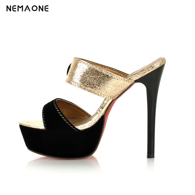 NEMAONE New Fashion OPEN Toe High Heels Slippers Summer Women Sandals Platform Flip Flops Beach Shoes large size 43 summer causal open toe buckle high heeled thick waterproof platform sandals for women