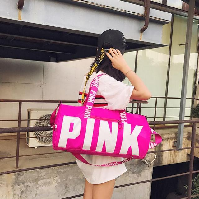 2018 Women Travel Duffle Fashion Pink Letter Handbags Large Capacity Travel  Totes Waterproof Beach Bag Shoulder 9f247f7922