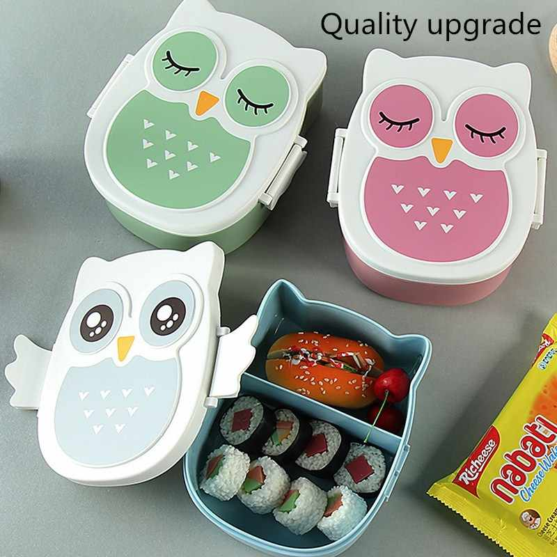 Cute Owl Lunch Box for kids Portable Picnic Bento Meal Boxes Food Container Storage Box School Outdoor With Compartments Case