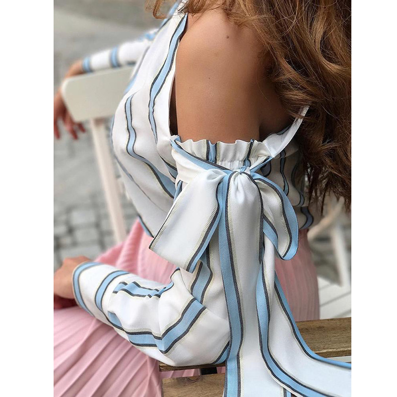 Striped Blouse One Shoulder Tops Sexy Long Sleeve Bow Shirts 14