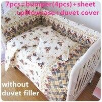 Promotion 6 7PCS Baby Crib Bedding Set For Girls Cartoon Bird Newborn Baby Bed Linen Cotton
