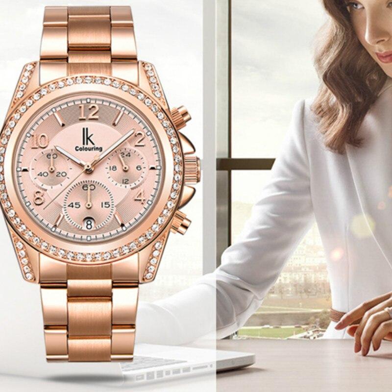 IK colouring Rose Gold Watch Women Quartz Watches Full Steel Rhinestone Waterproof Lady Dress Wristwatch relogio With Gift Box