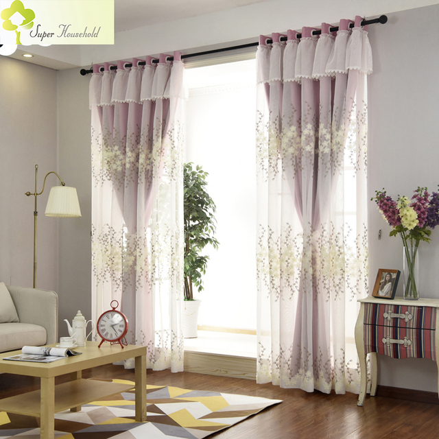 Princess Pink Curtains For Living Room Girl Bedroom Kids Window Tulle And