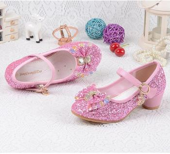 Children's Sequins Shoes Enfants 2019 Baby Girls Wedding Princess Kids High Heels Dress Party Shoes For Girl Pink Blue Gold 1