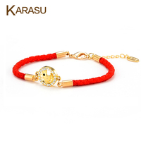 Lucky Tiny Austrian Crystal Round Gold Plated Chicken Design Pendant Thread String Rope Charm Bracelet For