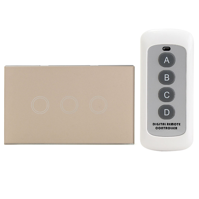 US Standard 3 Gang 3 Way Remote Control Switch, Smart Wall Light Switch, Touch Light Switch For Smart Home High Quality us standard remote control 3 gang 1 way touch panel rf 433 smart wall switch wireless remote control light switch for smart home