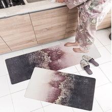 Nordic ins style Kitchen non-slip oilproof household PVC leather mat bathroom door Waterproof strip sunset clouds rug