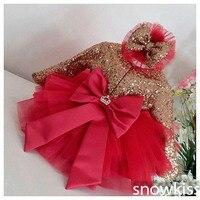 Красный тюль Bling Золотой блестками цветок платья для девочек с одежда с длинным рукавом Детское праздничное платье для дня рождения для мал...